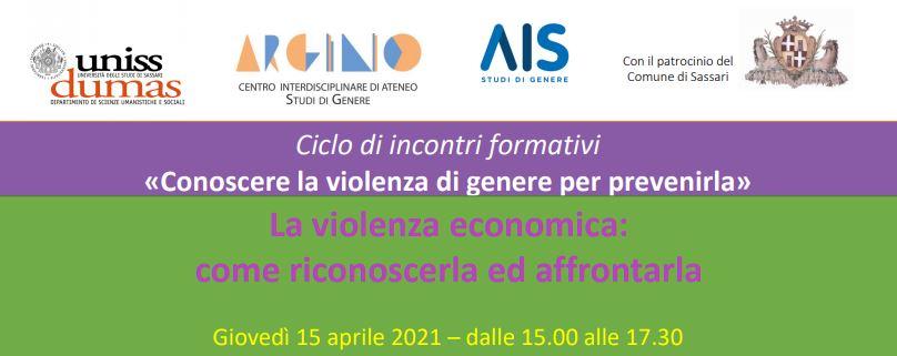 """Webinar """"La violenza economica:  come riconoscerla ed affrontarla"""""""